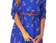 Blue Anchor Print Belted Roll Up Sleeve Dress Choies.com online fashion store United Kingdom Europe