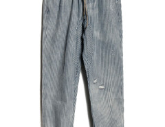 Blue And Gray Stripe Ripped Drawstring Waist Pants Choies.com online fashion store United Kingdom Europe
