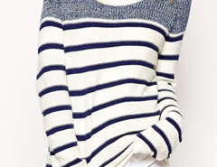 Blue And White Stripe Long Sleeve Jumper Choies.com online fashion store United Kingdom Europe