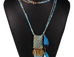 Blue Bead Fringe Leaf And Feather Pendant Multirow Necklace Choies.com online fashion store United Kingdom Europe
