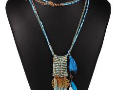 Blue Bead Fringe Leaf And Feather Pendant Multirow Necklace Choies.com online fashion store United Kingdom Europe