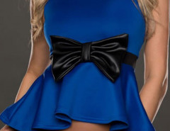 Blue Bowknot Detail Peplum Vest Choies.com online fashion store United Kingdom Europe