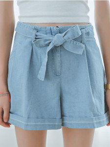 Blue Bowtie Waist A-line Denim Shorts Choies.com online fashion store United Kingdom Europe