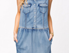 Blue Button Front Scoop Neck Washed Denim Dress Choies.com online fashion store United Kingdom Europe