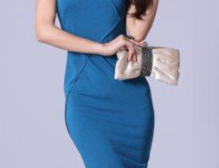 Blue Cap Sleeve Back Zipper Up Bodycon Dress Choies.com online fashion store United Kingdom Europe