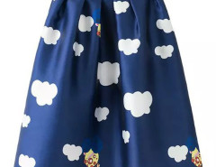 Blue Cloud Print High Waist Midi Skirt Choies.com online fashion store United Kingdom Europe