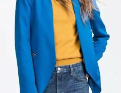 Blue Collarless Open Front Asymmetric Zipper Detail Slim Blazer Choies.com online fashion store United Kingdom Europe