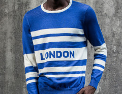 Blue Color Block Striped Letter Jacquard Jumper Choies.com online fashion store United Kingdom Europe