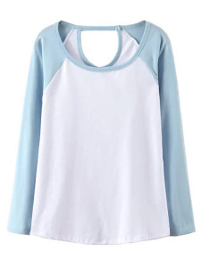 Blue Contrast Cut Out Long Sleeve T-shirt Choies.com online fashion store United Kingdom Europe