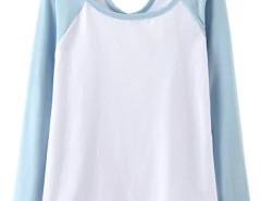 Blue Contrast Cut Out Long Sleeve T-shirt Choies.com online fashion store United Kingdom Europe