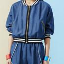 Blue Contrast Stripe Trim Denim Bomber Jacket And Shorts Choies.com online fashion store United Kingdom Europe