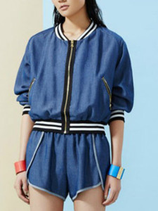 Blue Contrast Stripe Trim Denim Bomber Jacket And Shorts Choies.com online fashion store United Kingdom Europe