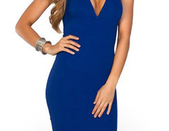 Blue Cut Out Sleeveless Bodycon Dress Choies.com online fashion store United Kingdom Europe