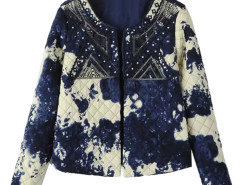 Blue Dip Dye Sequins Detail Long Sleeve Coat Choies.com online fashion store United Kingdom Europe