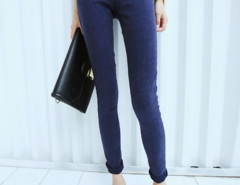 Blue Elastic Waist Skinny Jeans Choies.com online fashion store United Kingdom Europe