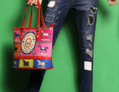Blue Embroidery Patch Rips Distressed Wash Jeans Choies.com online fashion store United Kingdom Europe