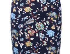 Blue Floral Back Split Zipper Detail Bodycon Skirt Choies.com online fashion store United Kingdom Europe