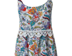 Blue Floral Print Crochet Lace Trim Cami Vest Choies.com online fashion store United Kingdom Europe