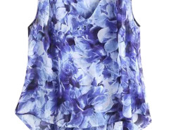 Blue Floral V-neck Asymmetric Hem Chiffon Vest Choies.com online fashion store United Kingdom Europe
