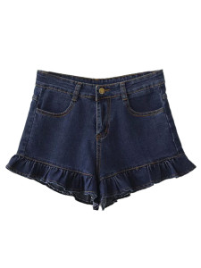 Blue High Waist Ruffle Hem Denim Shorts Choies.com online fashion store United Kingdom Europe