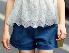 Blue Hight Waist Denim A-line Shorts Choies.com online fashion store United Kingdom Europe