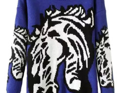Blue Horse Pattern Round Neck Sweater Choies.com online fashion store United Kingdom Europe