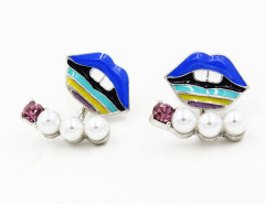 Blue Jewelled Lip Earrings Choies.com online fashion store United Kingdom Europe