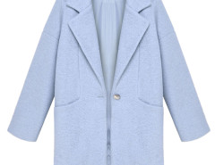 Blue Lapel Loose Woolen Coat Choies.com online fashion store United Kingdom Europe