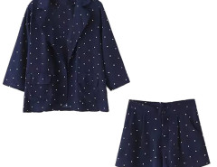Blue Lapel Polka Dot 3/4 Sleeve Pocket Detail Coat And Short Choies.com online fashion store United Kingdom Europe