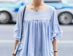 Blue Layered Ruffle Sleeve Ruched Chiffon Blouse Choies.com online fashion store United Kingdom Europe