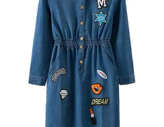 Blue Letters Embroidery Button Up Elastic Waist Dress Choies.com online fashion store United Kingdom Europe