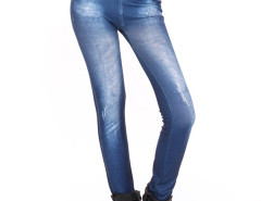 Blue Light Wash High Waist Denim Leggings Choies.com online fashion store United Kingdom Europe