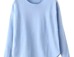 Blue Lightweight Long Sleeve Structured Knit Sweater Choies.com online fashion store United Kingdom Europe