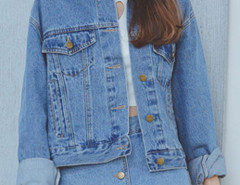 Blue Long Sleeve Button Up Denim Coat Choies.com online fashion store United Kingdom Europe