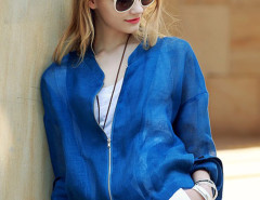 Blue Long Sleeve Light Weight Short Coat Choies.com online fashion store United Kingdom Europe