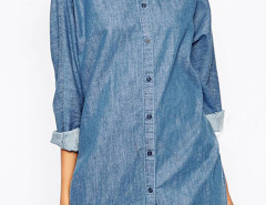 Blue Loose Long Sleeve Dipped Shirt Choies.com online fashion store United Kingdom Europe