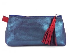 Blue Metallic Suede Wallet With Leather Tassel Carnet de Mode online fashion store Europe France