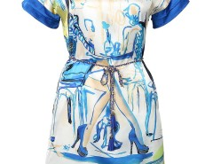 Blue Morden Maidens Print Chain Belt Dress Choies.com online fashion store United Kingdom Europe