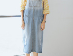 Blue Ombre Pocket Detail Ripped Denim Overall Dress Choies.com online fashion store United Kingdom Europe