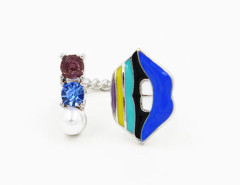Blue Open Lip And Jewel Twist Ring Choies.com online fashion store United Kingdom Europe