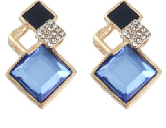 Blue Oversize Stone Crystal Geo Earrings Choies.com online fashion store United Kingdom Europe