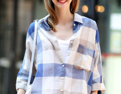 Blue Plaid Print Roll Up Long Sleeve Dipped Hem Shirt Choies.com online fashion store United Kingdom Europe