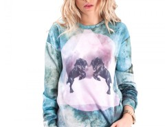 Blue Printed Polyester Sweatshirt - Horses Carnet de Mode online fashion store Europe France