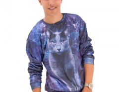 Blue Printed Polyester Sweatshirt - Kitty Carnet de Mode online fashion store Europe France