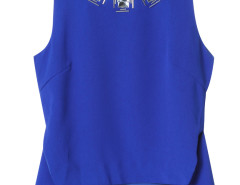Blue Rhinestone Detail Slit Side Asymmetric Vest Choies.com online fashion store United Kingdom Europe