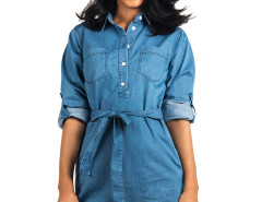 Blue Roll Up Sleeve Denim Shirt Dress Choies.com online fashion store United Kingdom Europe