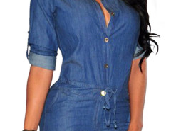 Blue Roll Up Sleeve Drawstring Waist Denim Shirt Romper Playsuit Choies.com online fashion store United Kingdom Europe
