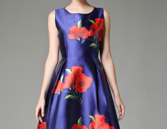 Blue Rose Print Sleeveless Skater Midi Skirt Choies.com online fashion store United Kingdom Europe