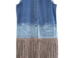 Blue Shirt Collar Dip Dye Tassel Hem Waistcoat Choies.com online fashion store United Kingdom Europe