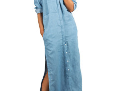 Blue Shirt Collar Slit Side Denim Maxi Dress Choies.com online fashion store United Kingdom Europe